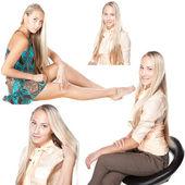 白い背景に分離された長い髪のブロンドの女の子をコラージュ — ストック写真