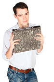 Young man with folder for papers in hands — Stockfoto