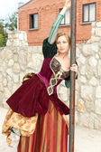Actress in medieval dress posing — Stock Photo