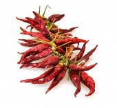 Isolated red dry chillies — Zdjęcie stockowe