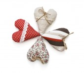 Group of valentine hearts on a white background — Stock Photo