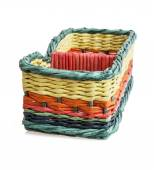 Colorful wicker basket — Fotografia Stock