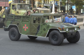 Victory parade of president Poroshenko.Kiev — Stock Photo