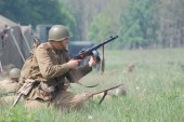 Historical reenactment of WWII — Stock Photo