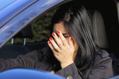 Woman hitting a car getting in a accident — Stock Photo