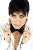 Sensual young woman with tie and shirt — Stock Photo