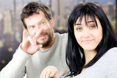 Man ready to cheat on funny woman — Stock Photo