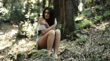 Scared woman in forest — Stock Video