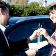 Happy woman buying car — Stock Photo #66980073