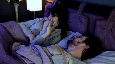 Couple quarrels in bed — Stock Video