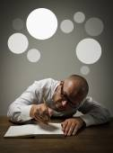 Man in white and gray bubbles.  — Stock Photo