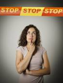 Girl and STOP line. — Stock Photo
