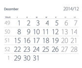 2014 year calendar. December — Stock Photo