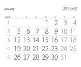 2015 year calendar. January — Stock Photo