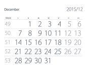 2015 year calendar. December — Stockfoto