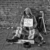 Homeless man in London — Stock Photo