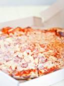 Hawaiian pizza  in   box — Stock Photo