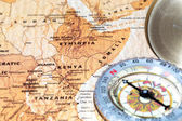 Travel destination Kenya, Ethiopia and Somalia, ancient map with vintage compass — Stock Photo