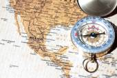 Travel destination Mexico, ancient map with vintage compass — Stock Photo