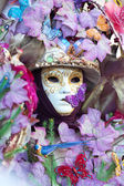 Mask with flowers at the Carnival of Venice — Stock Photo