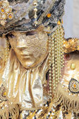 Golden mask at the Carnival of Venice — Stock Photo