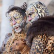 Couple disguised as a leopard during the Carnival of Venice — Stock Photo #61396763