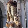 Couple disguised as a leopard during the Carnival of Venice — Stock Photo #61396765
