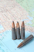 Bullets on the map of United States of America — Stock Photo