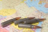 Bullets on the map of North Africa — Stock Photo