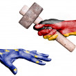 Germany hitting European Union with a heavy hammer — Stock Photo #78913834
