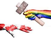 Peace hitting Canada with a heavy hammer — Stock Photo