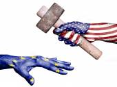 United States hitting European Union with a heavy hammer — Stock Photo
