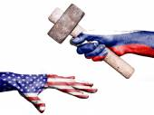 Russia hitting United States with a heavy hammer — Stock Photo