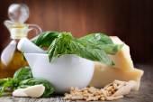 Basil pesto sauce and fresh ingredient — Stock Photo