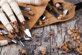Wood carving tools — Stock Photo