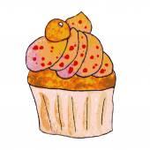 Watercolor orange cupcake — Stock Vector