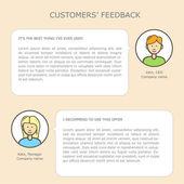 Müşteriler geribildirim web şablonu — Stok Vektör