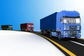 Trucks on freeway — Stock Photo