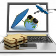 Plane with suitcase, globe and umbrella on laptop screen. Travel and vacation concept — Stock Photo #53074943