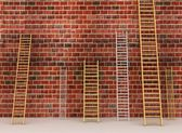 Ladders against old brick wall. 3d illustration — Stock Photo