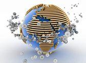 Globe with molecules — Stock Photo