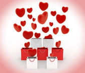 Hearts falling into gift bags — Foto Stock