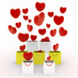 Hearts falling into gift bags — Stock Photo #54827503