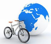 Bike and the globe. The concept of tourism on environmental transport. — Foto de Stock
