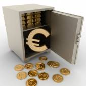 3d illustration of steel safe with euro sign inside — Foto de Stock