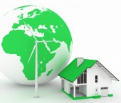 Eco house with wind turbine , environmentally friendly — Stock Photo