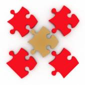 Colorful shiny puzzle. 3d illustration — Stock Photo