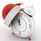 Alarm clock with christmas santa hat, 3d illustration on white background — Stock Photo