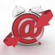 Alarm clock and symbol of e-mail. Concept online support. 3d render illustration — Stockfoto #60575813