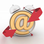 Alarm clock and symbol of e-mail.  Concept online support. 3d render illustration — Stock Photo
